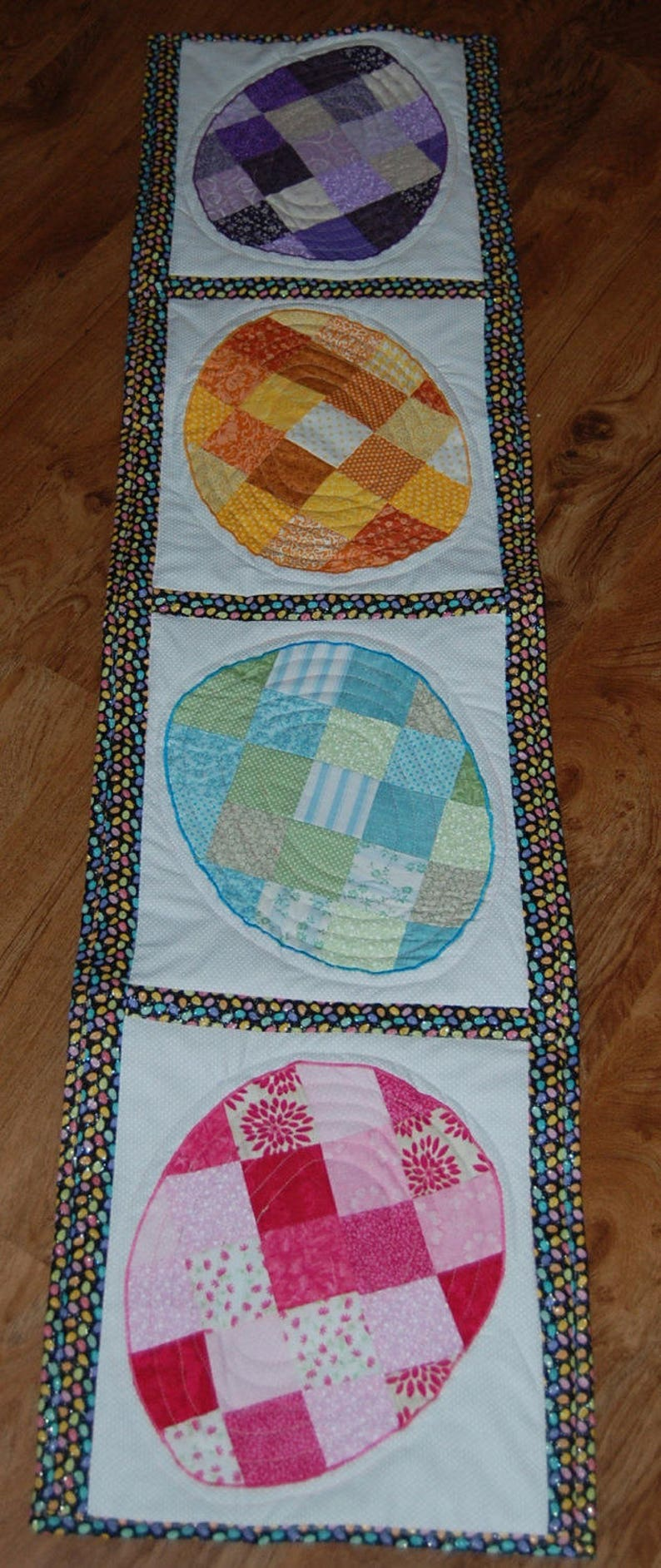 Easter Egg Patchwork Quilted Table Runner