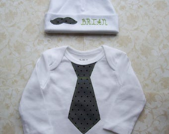 Newborn baby boy take home outfit,Hospital set,Onesie,Easter baby,Gray polka dot tie,Mustache,Personalized hat,Grey,Gown,Beanie,Coming home