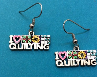 6df634fea Quilting earrings. Sewing earrings. Rainbow earrings. Teacher earrings.  Quilt queen. Quilter earrings. Hand painted earring. Quilting charms