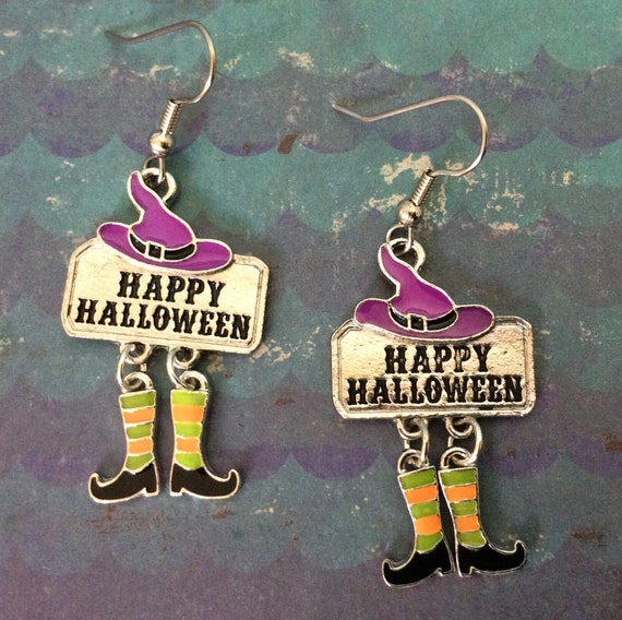 83fdb39af Witch earrings. Striped knee high socks. Witch shoe earrings.
