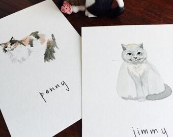 Custom Cat Portrait Watercolor Painting Postcard Cat Dog Art