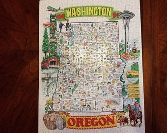 1977 WA/OR Map Jigsaw Puzzle