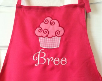 Personalized child's apron, kids apron, embroidered, baking apron, children's apron, cupcake, childs baking apron, baking party