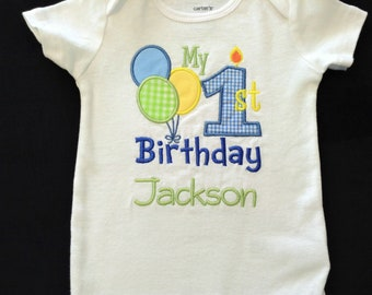 Personalized 1st Birthday Shirt First Bodysuit Boy With Balloons Embroideredy
