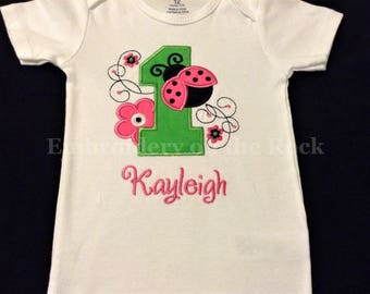 b9428c5f Ladybug 1st birthday, Personalized girl 1st birthday, ladybug first birthday  outfit, bodysuit, ladybug birthday shirt, embroidered.