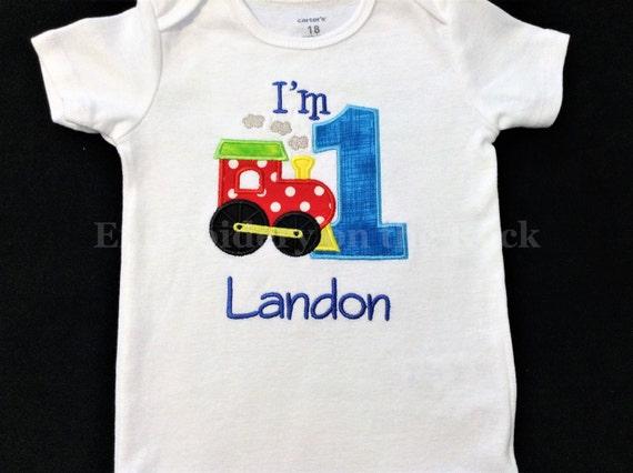 Train 1st Birthday Shirt Boy Personalized Bodysuit Embroidered