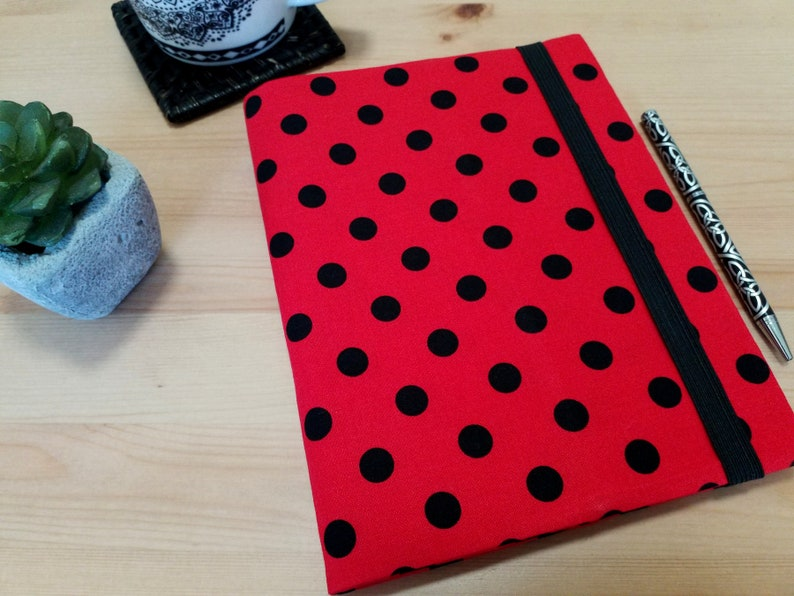 A5 Fabric Notebook Cover Red and Black Spotted Journal Cover image 0