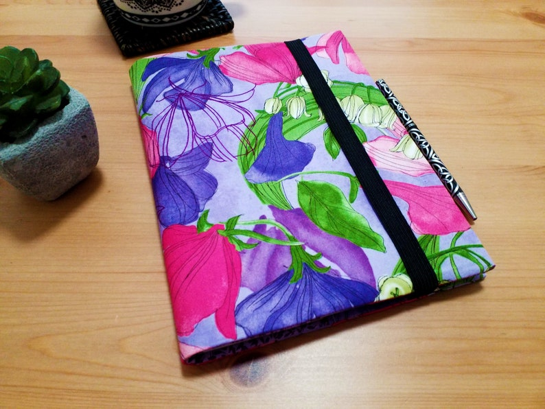 A5 Sweet Pea and Lily Floral Notebook Cover Fabric Diary image 0