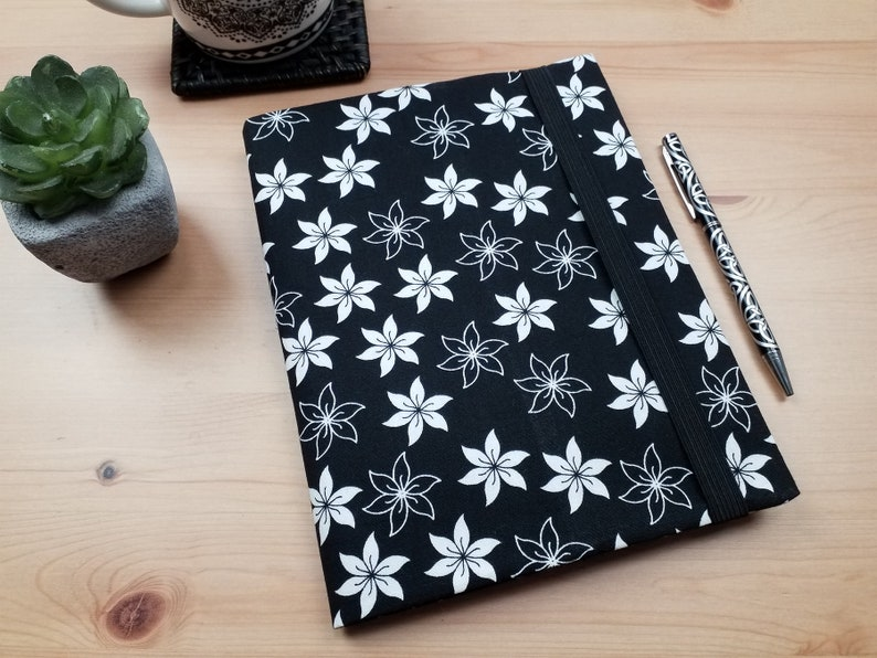 A5 Fabric Black and White Journal Cover with Elastic Closure image 0