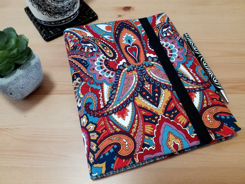 Fabric Notebook Cover Gypsy Heart Journal with Elastic image 0
