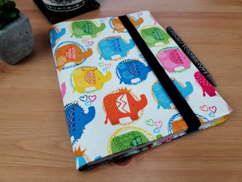 A5 Journal Cover with Elastic Closure New Baby Gift Elephant image 0