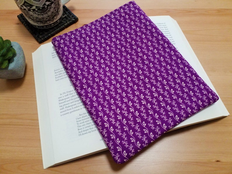 Book Protector Purple Vines Fabric Padded Book Sleeve Gift image 0