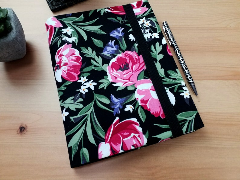 Onyx Roses A5 Notebook Cover with Elastic Closure image 0