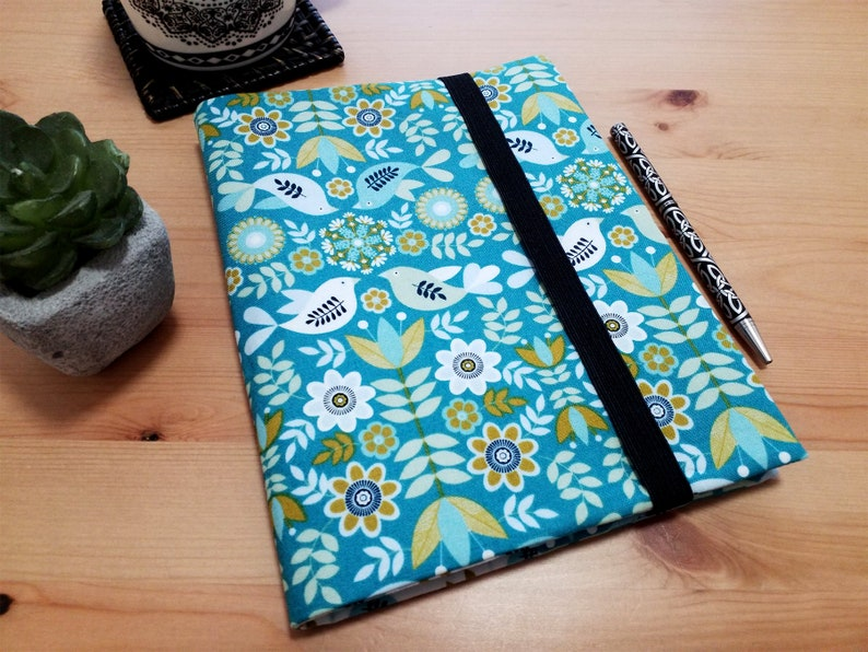 Fabric Journal Cover with Elastic Closure A5 Bird Garden image 0