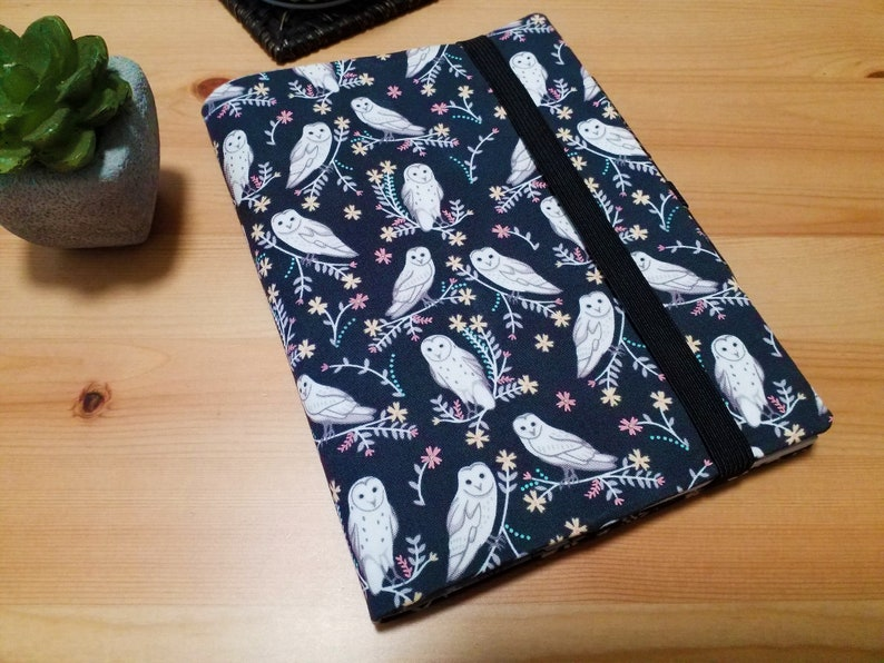 Coffee Owls A5 Journal Cover with Pen Loop and Elastic Closure image 0