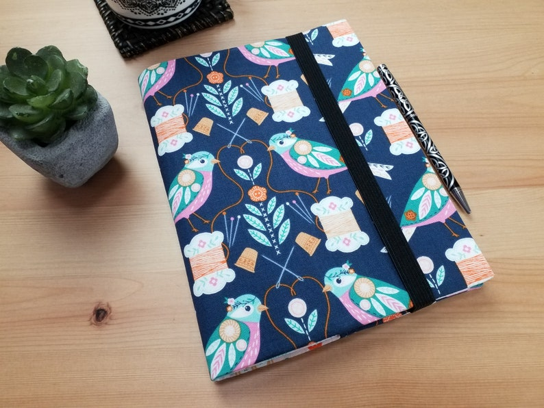 Stitch Birds A5 Fabric Journal Cover with Elastic Closure image 0