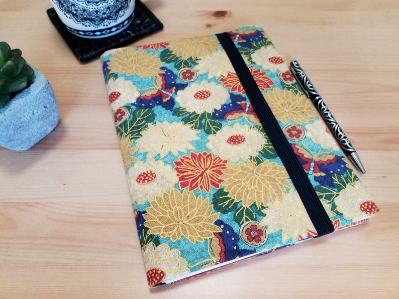 Floral Gold A5 Fabric Notebook Cover with Elastic Closure image 0