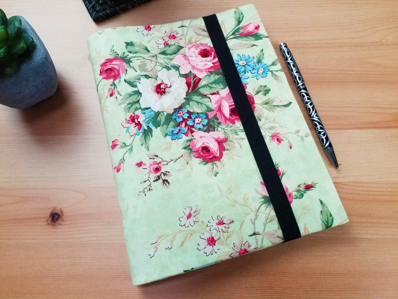 Vintage Rose A5 Notebook Cover with Elastic Closure image 0