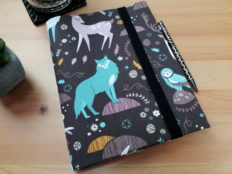 A5 Journal Cover with Elastic Closure Arctic Fox Snowfall image 0
