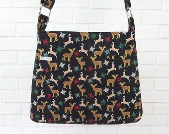 Christmas Purse, Christmas Handbag, Christmas Bag, Holiday Purse, Christmas Reindeer, Holiday Bag, Party Purse, Holiday Handbag, Fabric Bag