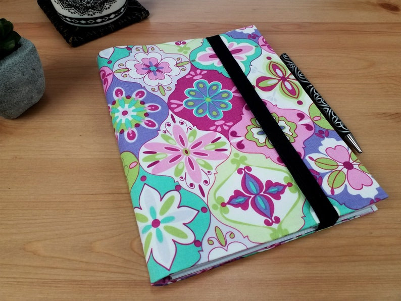 A5 Planner Cover with Elastic Closure Fabric Diary Notebook image 0