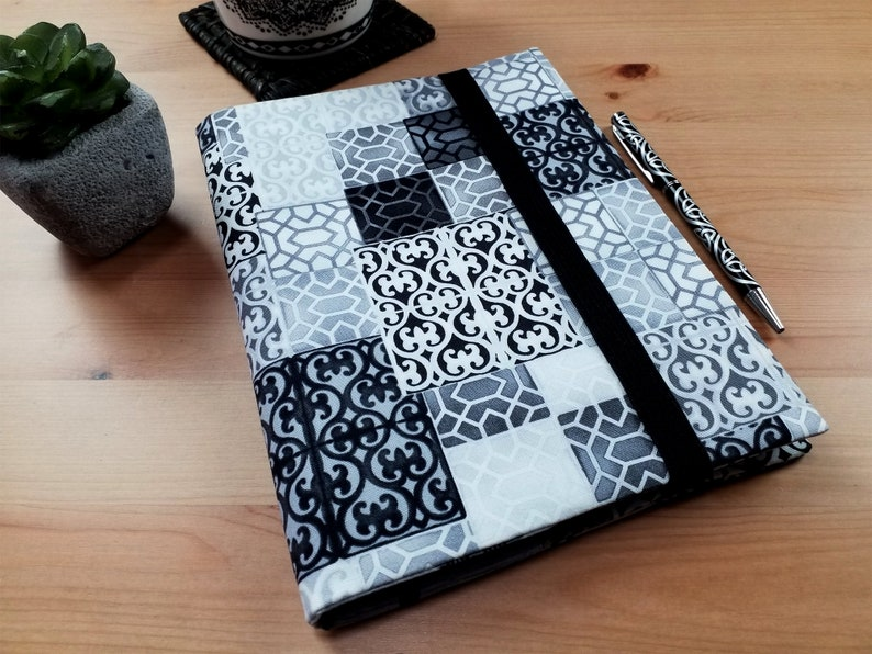 Palermo Grey A5 Fabric Journal Cover with Elastic Closure image 0