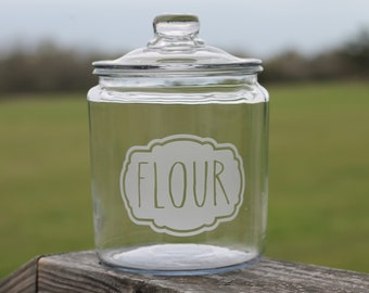Etched flour canister | jar | cookies | almond flour | sugar | pantry | label | housewarming gift | wedding gift