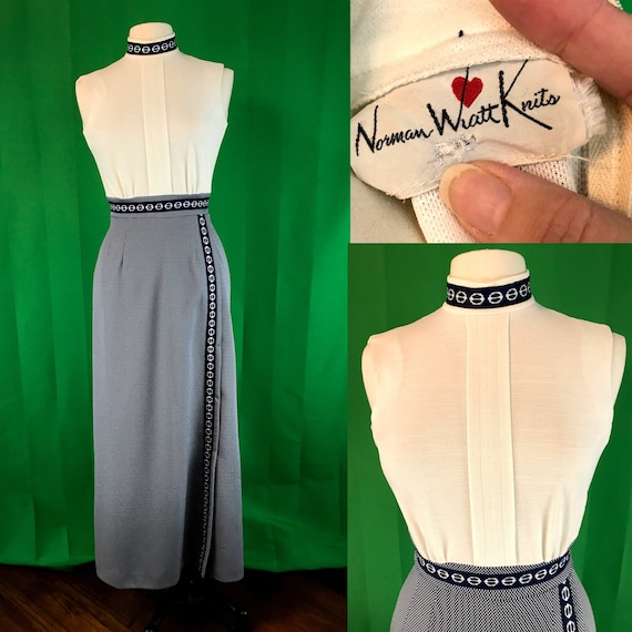 Vintage Norman Wiatt Knits Navy Blue and White 196
