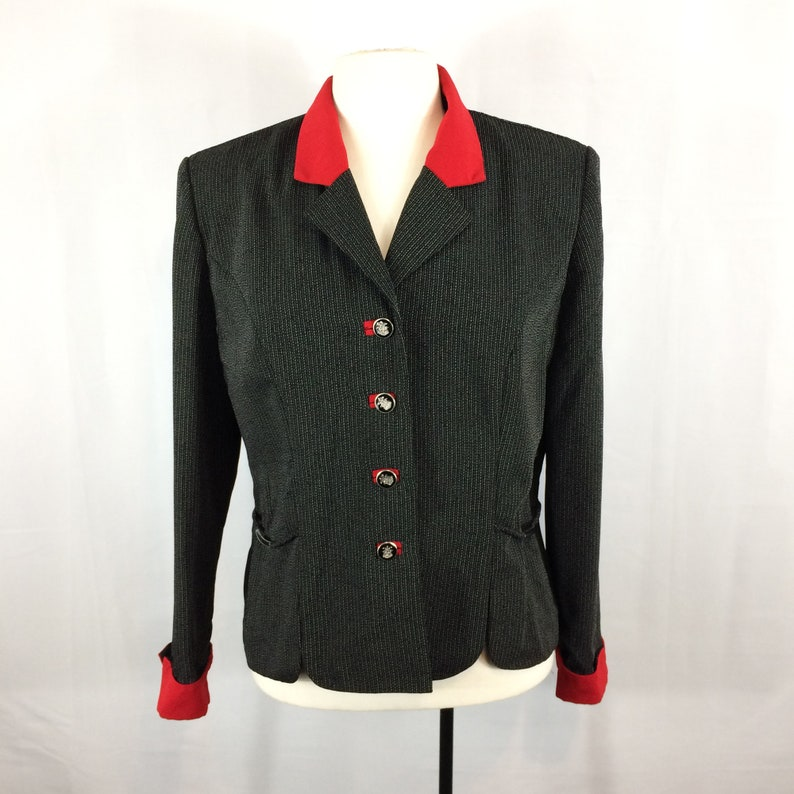 Top with Metal Accents Vintage 80/'s Perceptions by Irene B Black Red Blazer