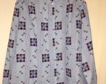 Ruggeri Blue Secretary Blouse shirt, 1970's 1980's geometric pattern