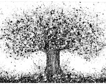 Very Large Black And White Painting Of Abstract Oak Tree On Unstretched Canvas