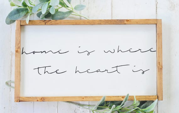 S A L E : Home Is Where The Heart Is, Wood Sign, Home Decor, Wall Art, Script, Home, Lettering, Farmhouse, Rustic, Framed, Sign