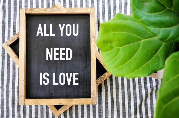 All You Need Is Love | Wood Sign | Beatles | Black and White | Farmhouse | Rustic | Framed | Handpainted | Love | Sign | Home Decor