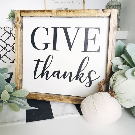 Give Thanks | Fall | Autumn | Thanks | Thanksgiving | Wood Sign | Home Decor | Framed | Lettered | Script | Give Thanks Sign | Thanks Sign