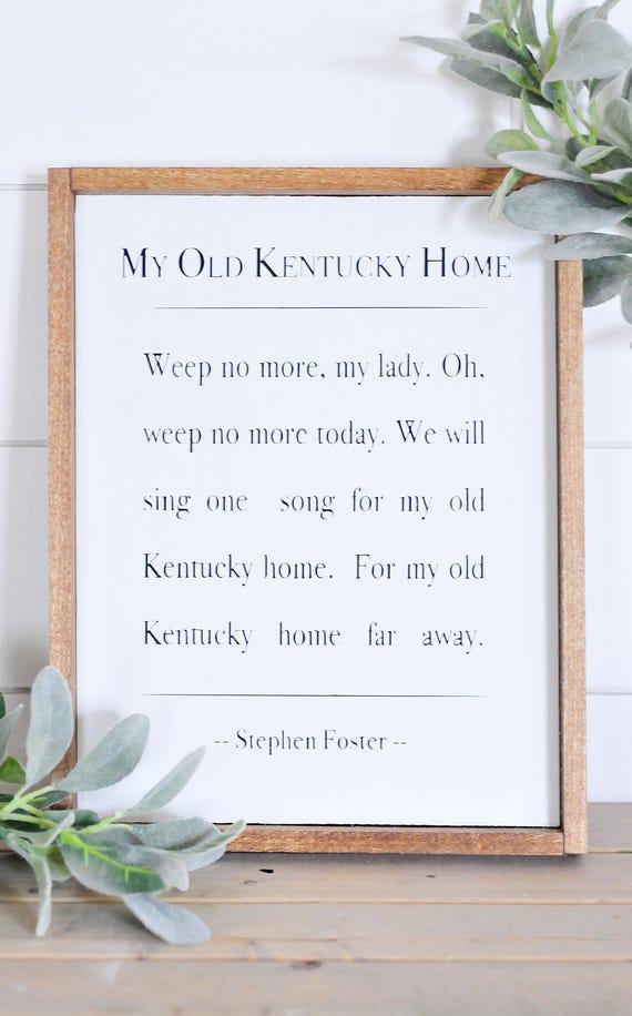 My Old Kentucky Home | Lyrics | Song | Wood Sign | Home Decor | Book | Print | Framed Sign | Farmhouse Style | Rustic | Song Lyrics
