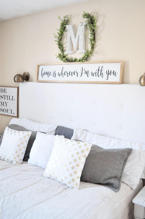 Home Is Wherever I'm With You | Wood Sign | Bedroom | Couple | Wedding | Anniversary | Home | Sign | Home Decor | Framed | Script | Lettered