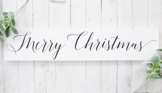 Merry Christmas | Wood Sign | Sign | Christmas Decor | Home Decor | Christmas Sign | Script | Christmas | Wood | Lettered | Painted