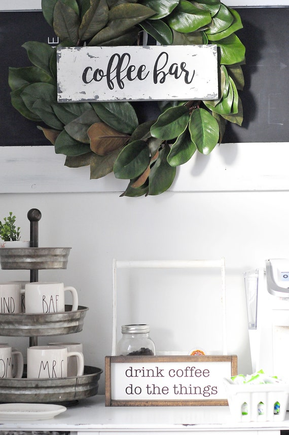Drink Coffee | Do The Things | Coffee | Coffee Bar | Wood Sign | Home Decor | Farmhouse | Framed | Sign | Rustic | Cottage | Small Sign