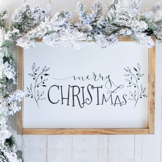 Merry Christmas Framed Sign | Home Decor | Holiday Decor | Christmas | Wood | Lettered | Script | Handpainted | Framed | Sign