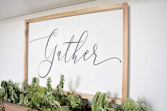 Gather | Wood Sign | Fall | Farmhouse | Rustic | Home Decor | Framed | Script | Thanksgiving | Sign | Autumn | Decor