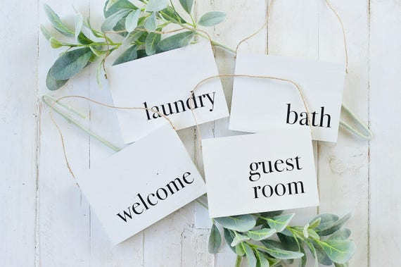 Wood Sign, Home Decor, Laundry, Bath, Welcome, Guest Room, Hanging Sign, Door Hanger, Entry, Farmhouse, Rustic, Twine, Lettering