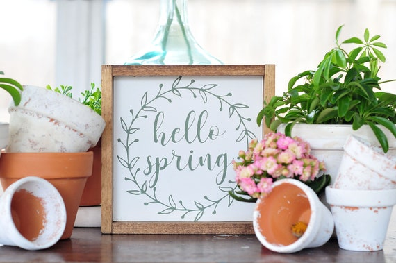 Hello Spring | Wood Sign | Home Decor | Spring | Springtime | Framed | Wreath | Small Sign | Farmhouse | Green | White | Rustic | Cottage