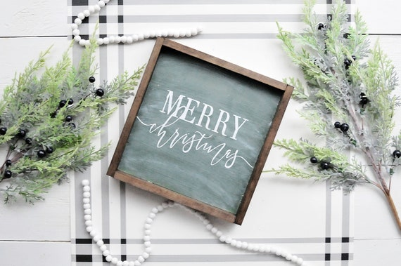 Merry Christmas Chalkboard Sign | Framed Whitewash Sign | Wood Merry Christmas Decor
