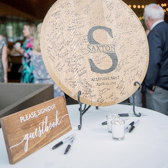 Round Guest Book | Wood | Wood Guest Book Sign | Monogram Guest Book | Wood Sign | Print | Painted | Wedding | Wedding Sign