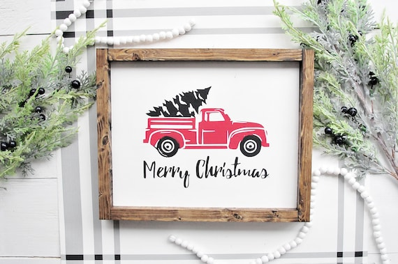 Tree and Truck Christmas Sign | Framed Merry Christmas Sign | Vintage Truck with Tree