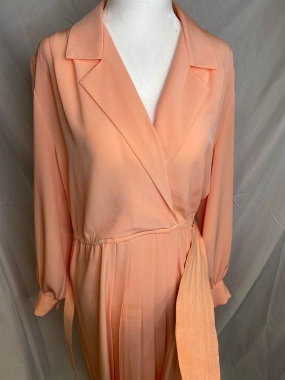 60s Lilli Ann petite peachy pink pleated shirt dr… - image 8