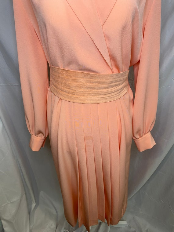 60s Lilli Ann petite peachy pink pleated shirt dr… - image 4