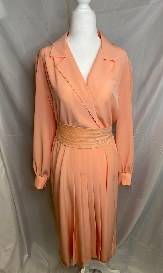 60s Lilli Ann petite peachy pink pleated shirt dr… - image 2