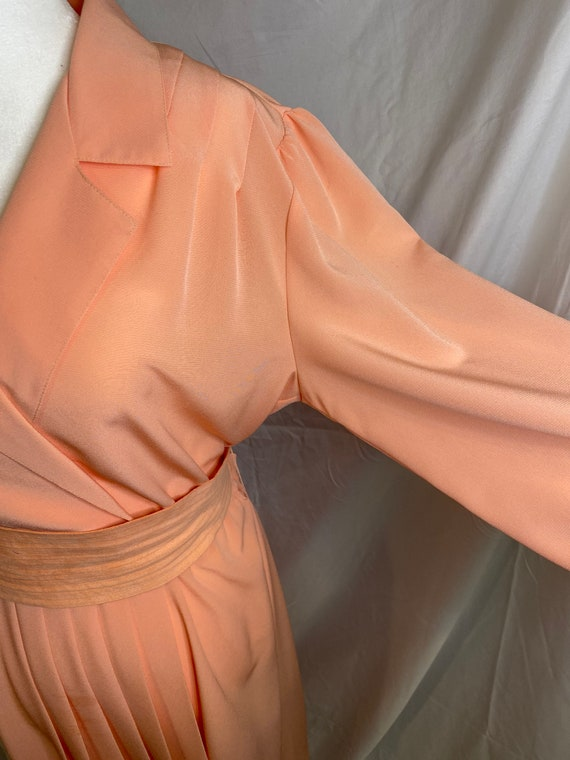 60s Lilli Ann petite peachy pink pleated shirt dr… - image 5