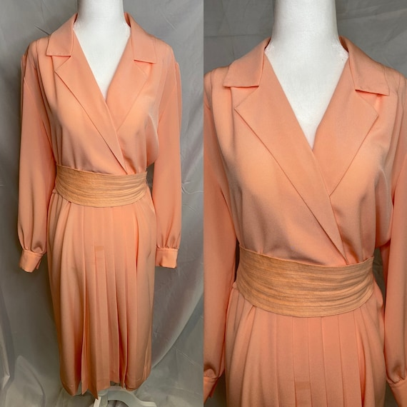60s Lilli Ann petite peachy pink pleated shirt dr… - image 1